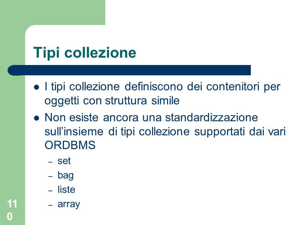 110 Tipi collezione I tipi collezione definiscono dei contenitori per oggetti con struttura simile Non esiste ancora una standardizzazione sull'insieme di tipi collezione supportati dai vari ORDBMS – set – bag – liste – array