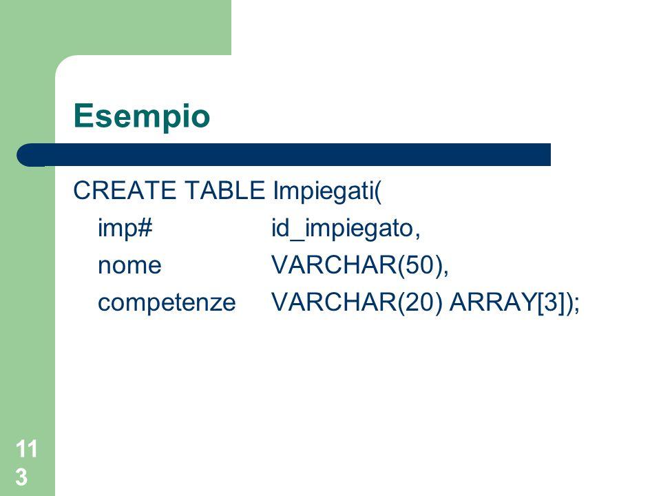 113 Esempio CREATE TABLE Impiegati( imp# id_impiegato, nome VARCHAR(50), competenzeVARCHAR(20) ARRAY[3]);