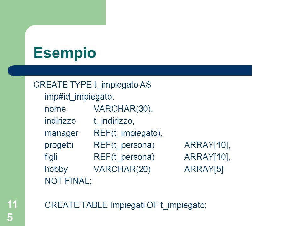 115 Esempio CREATE TYPE t_impiegato AS imp#id_impiegato, nome VARCHAR(30), indirizzot_indirizzo, managerREF(t_impiegato), progettiREF(t_persona) ARRAY[10], figliREF(t_persona)ARRAY[10], hobbyVARCHAR(20)ARRAY[5] NOT FINAL; CREATE TABLE Impiegati OF t_impiegato;
