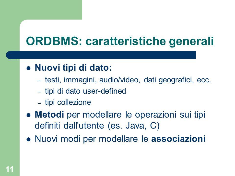 11 ORDBMS: caratteristiche generali Nuovi tipi di dato: – testi, immagini, audio/video, dati geografici, ecc. – tipi di dato user-defined – tipi colle