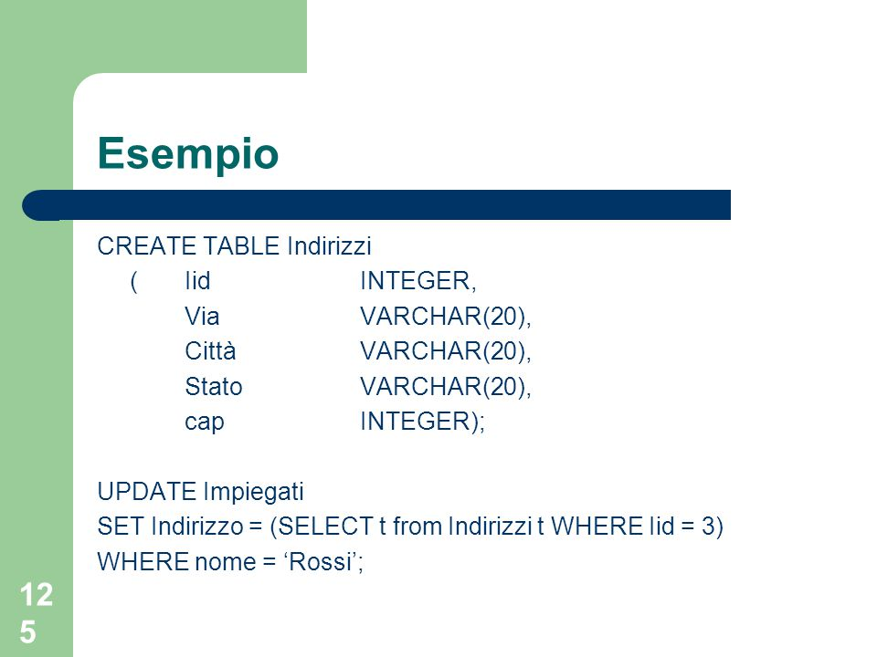 125 Esempio CREATE TABLE Indirizzi (Iid INTEGER, Via VARCHAR(20), Città VARCHAR(20), Stato VARCHAR(20), cap INTEGER); UPDATE Impiegati SET Indirizzo =