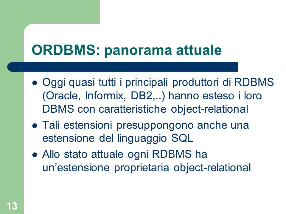 13 ORDBMS: panorama attuale Oggi quasi tutti i principali produttori di RDBMS (Oracle, Informix, DB2,..) hanno esteso i loro DBMS con caratteristiche object-relational Tali estensioni presuppongono anche una estensione del linguaggio SQL Allo stato attuale ogni RDBMS ha un'estensione proprietaria object-relational