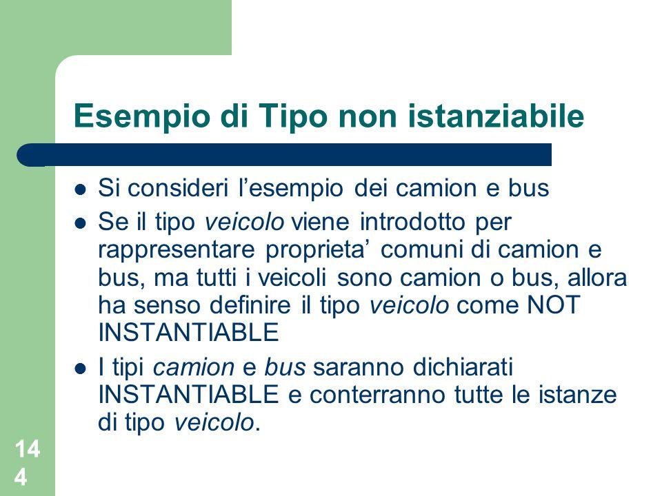 144 Esempio di Tipo non istanziabile Si consideri l'esempio dei camion e bus Se il tipo veicolo viene introdotto per rappresentare proprieta' comuni d