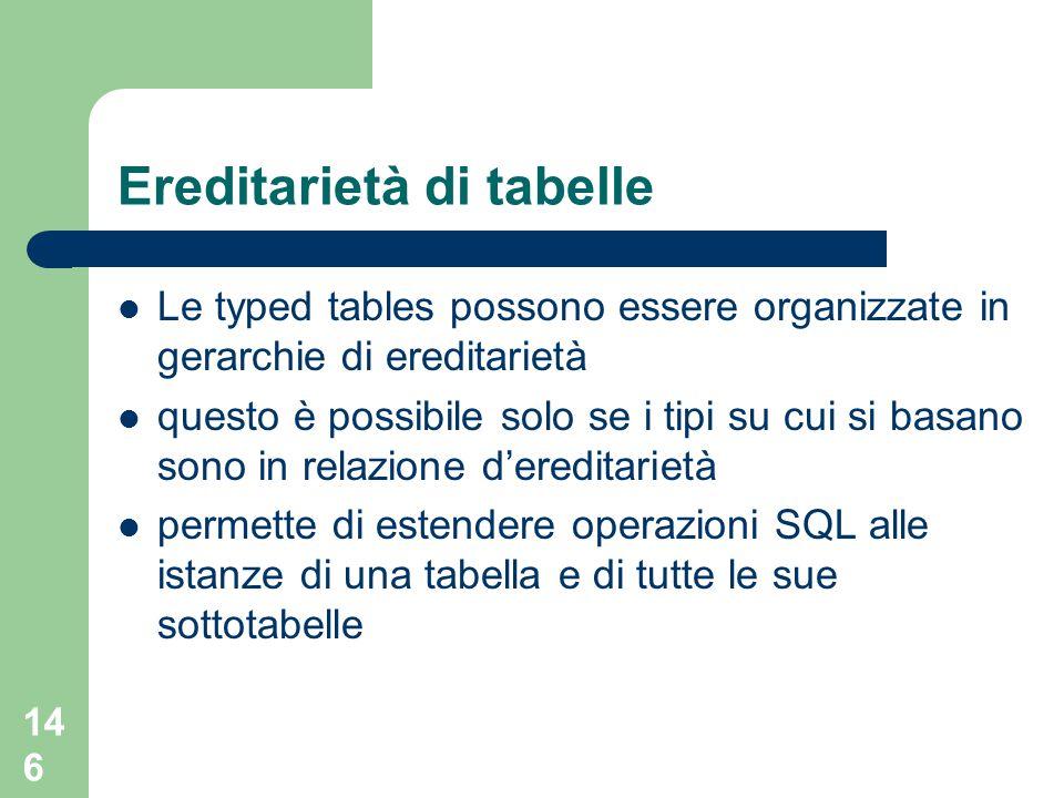 146 Ereditarietà di tabelle Le typed tables possono essere organizzate in gerarchie di ereditarietà questo è possibile solo se i tipi su cui si basano sono in relazione d'ereditarietà permette di estendere operazioni SQL alle istanze di una tabella e di tutte le sue sottotabelle