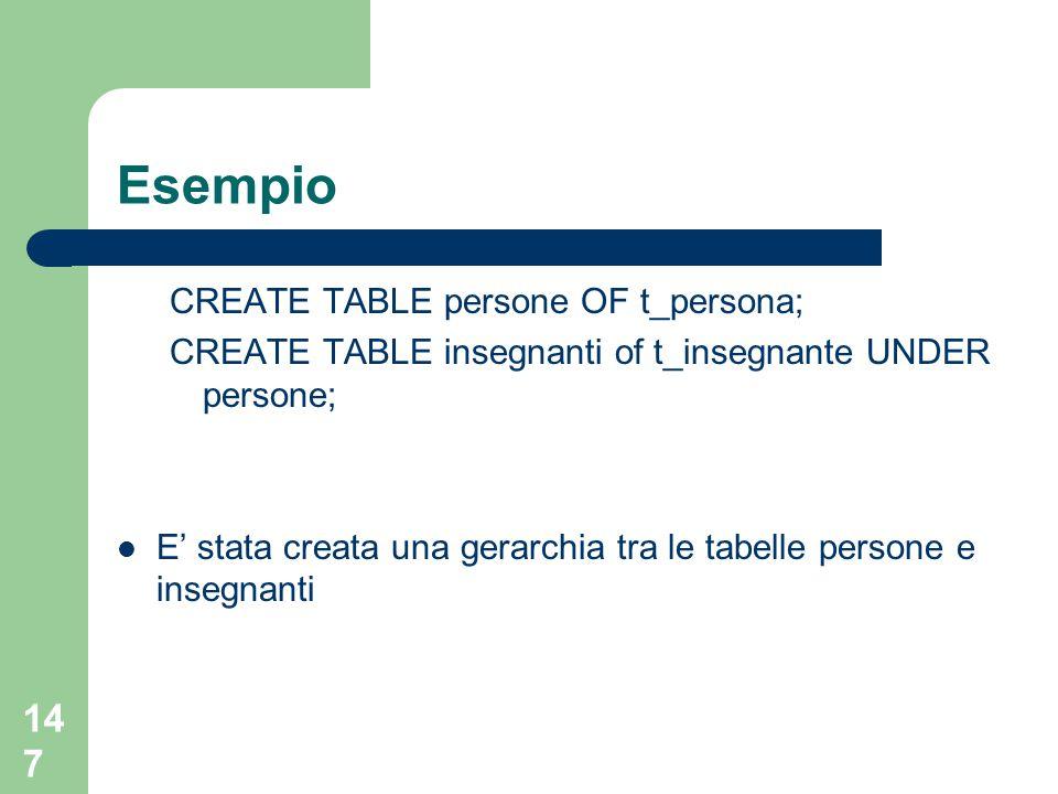 147 Esempio CREATE TABLE persone OF t_persona; CREATE TABLE insegnanti of t_insegnante UNDER persone; E' stata creata una gerarchia tra le tabelle persone e insegnanti