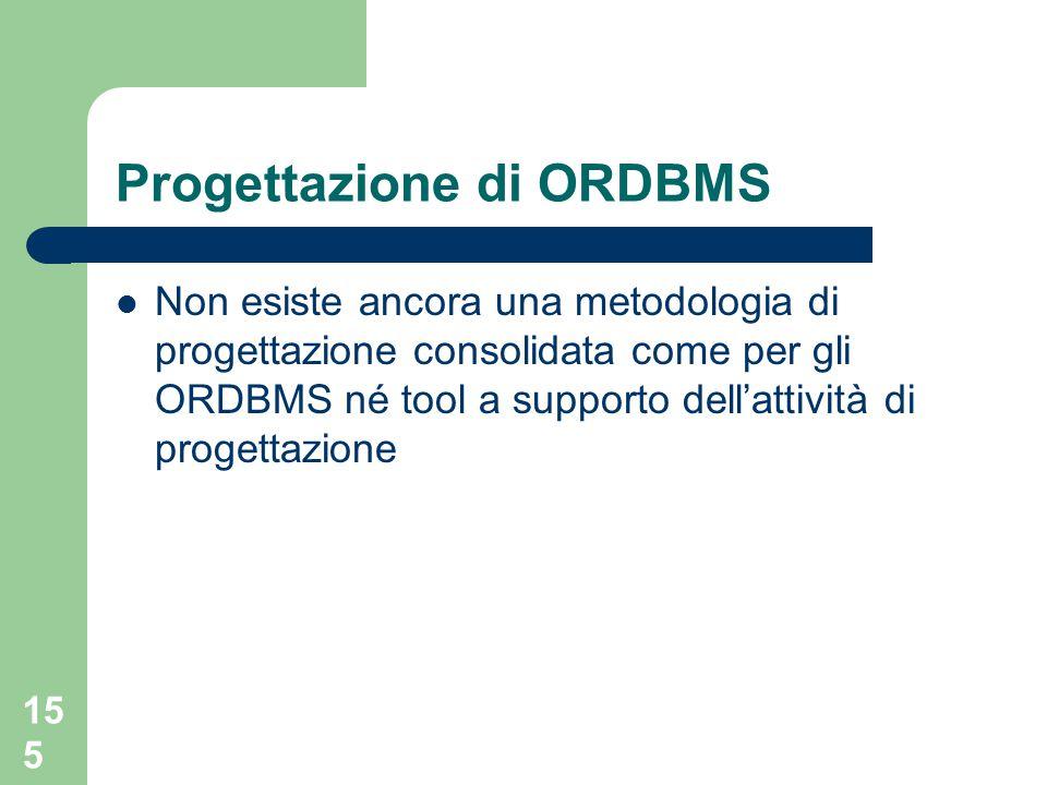 155 Non esiste ancora una metodologia di progettazione consolidata come per gli ORDBMS né tool a supporto dell'attività di progettazione