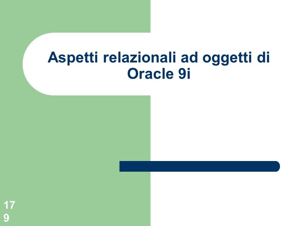 179 Aspetti relazionali ad oggetti di Oracle 9i
