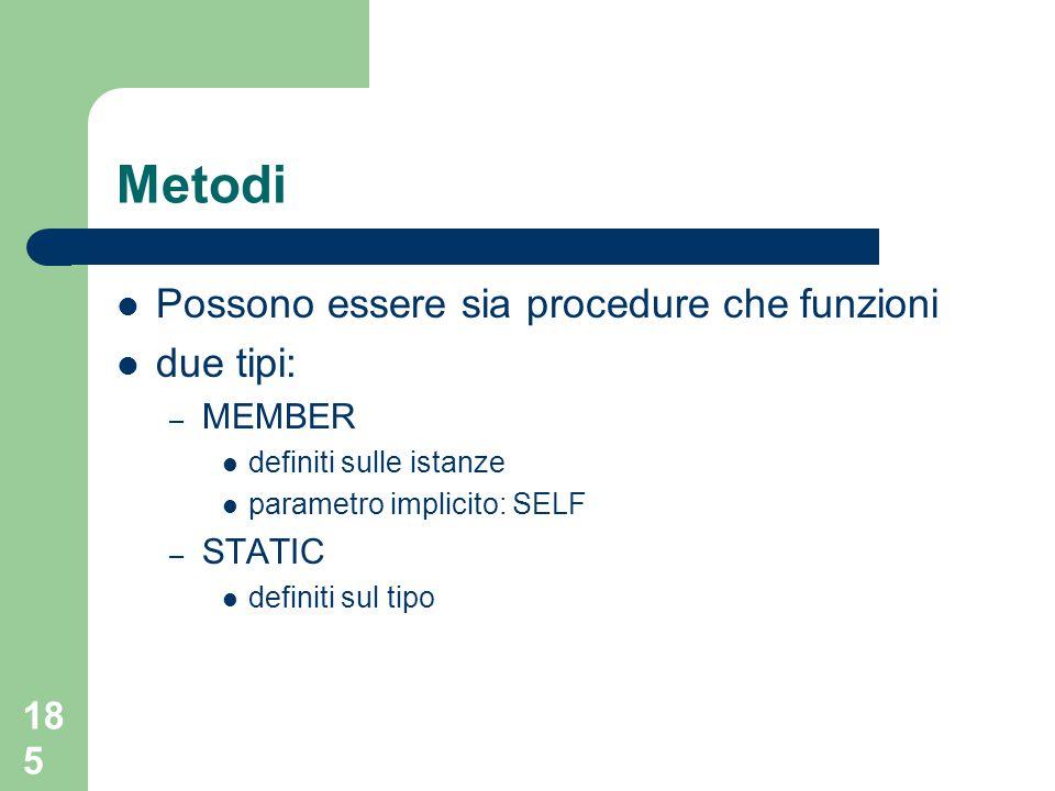 185 Metodi Possono essere sia procedure che funzioni due tipi: – MEMBER definiti sulle istanze parametro implicito: SELF – STATIC definiti sul tipo