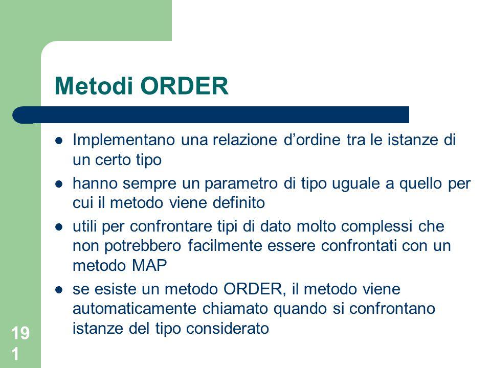 191 Metodi ORDER Implementano una relazione d'ordine tra le istanze di un certo tipo hanno sempre un parametro di tipo uguale a quello per cui il meto