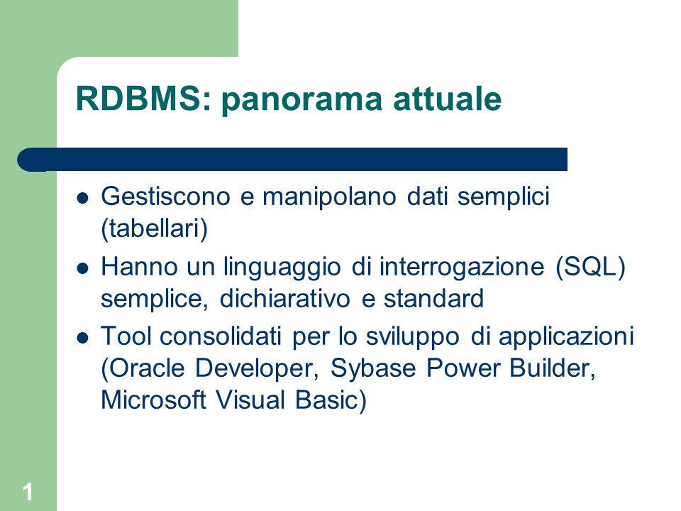 1 RDBMS: panorama attuale Gestiscono e manipolano dati semplici (tabellari) Hanno un linguaggio di interrogazione (SQL) semplice, dichiarativo e standard Tool consolidati per lo sviluppo di applicazioni (Oracle Developer, Sybase Power Builder, Microsoft Visual Basic)