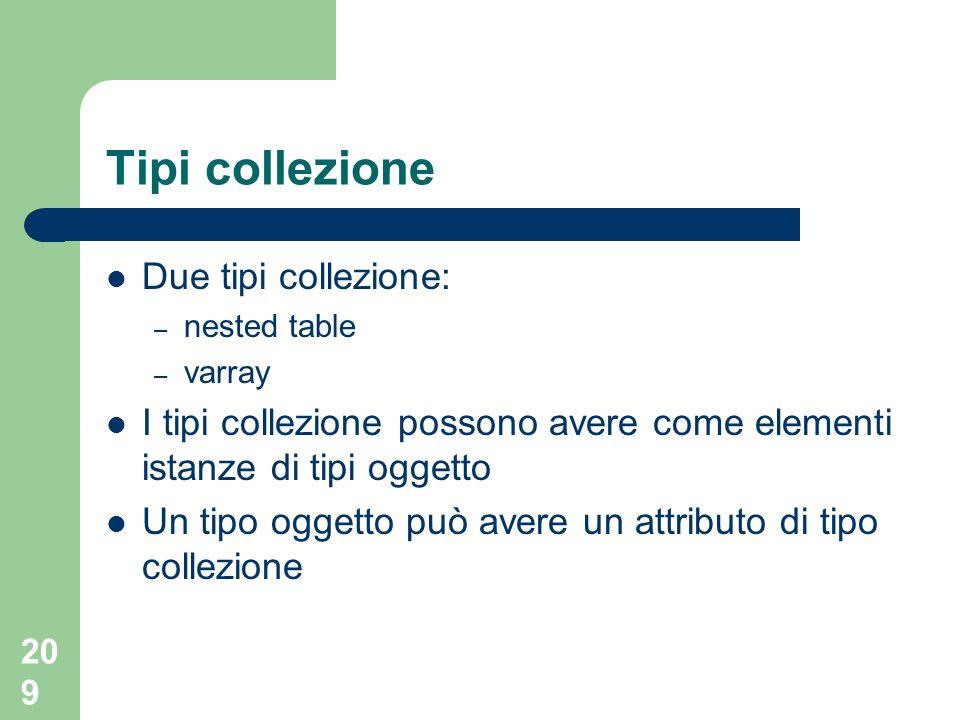 209 Tipi collezione Due tipi collezione: – nested table – varray I tipi collezione possono avere come elementi istanze di tipi oggetto Un tipo oggetto può avere un attributo di tipo collezione