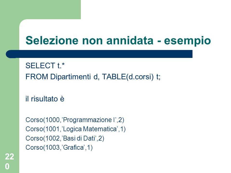 220 Selezione non annidata - esempio SELECT t.* FROM Dipartimenti d, TABLE(d.corsi) t; il risultato è Corso(1000,'Programmazione I',2) Corso(1001,'Log