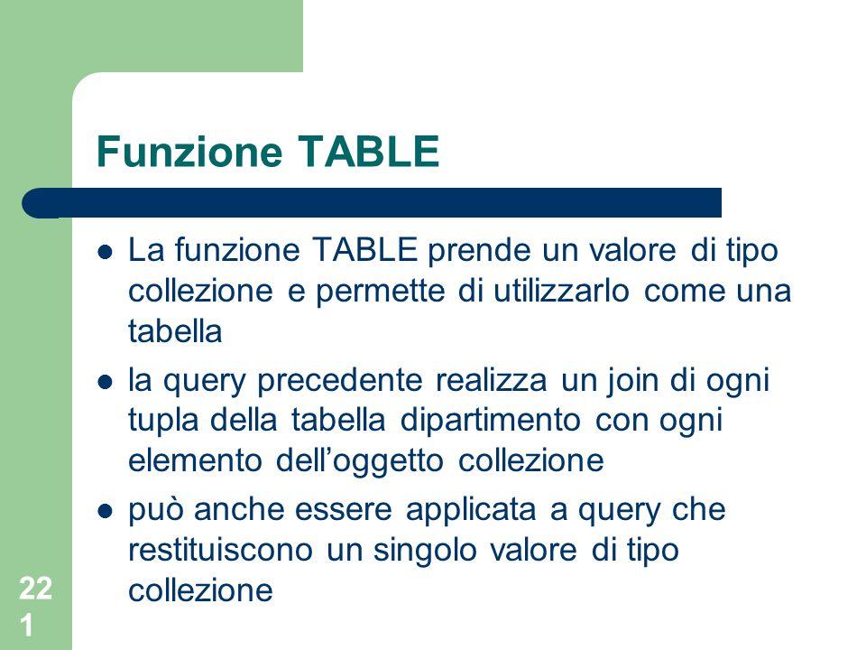 221 Funzione TABLE La funzione TABLE prende un valore di tipo collezione e permette di utilizzarlo come una tabella la query precedente realizza un join di ogni tupla della tabella dipartimento con ogni elemento dell'oggetto collezione può anche essere applicata a query che restituiscono un singolo valore di tipo collezione