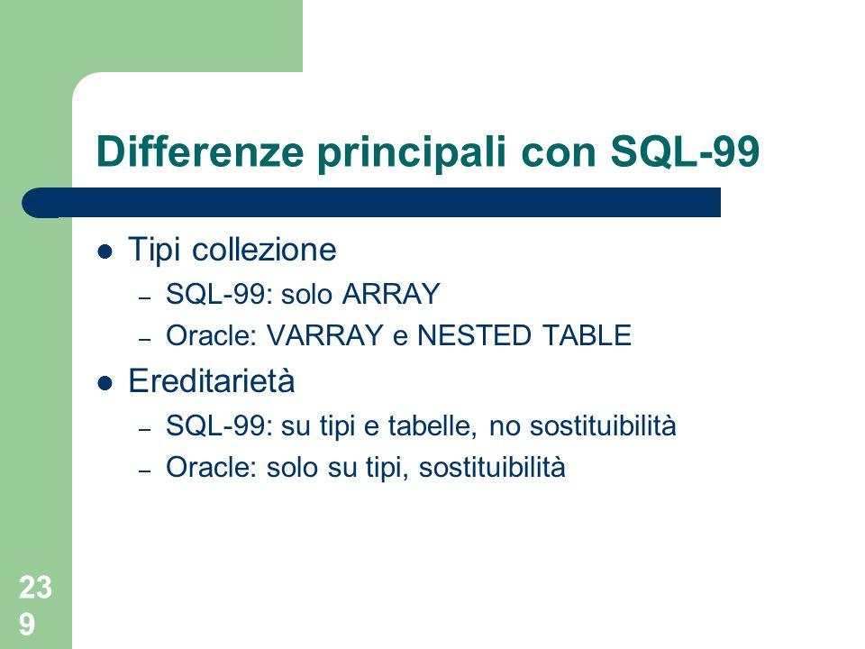 239 Differenze principali con SQL-99 Tipi collezione – SQL-99: solo ARRAY – Oracle: VARRAY e NESTED TABLE Ereditarietà – SQL-99: su tipi e tabelle, no sostituibilità – Oracle: solo su tipi, sostituibilità