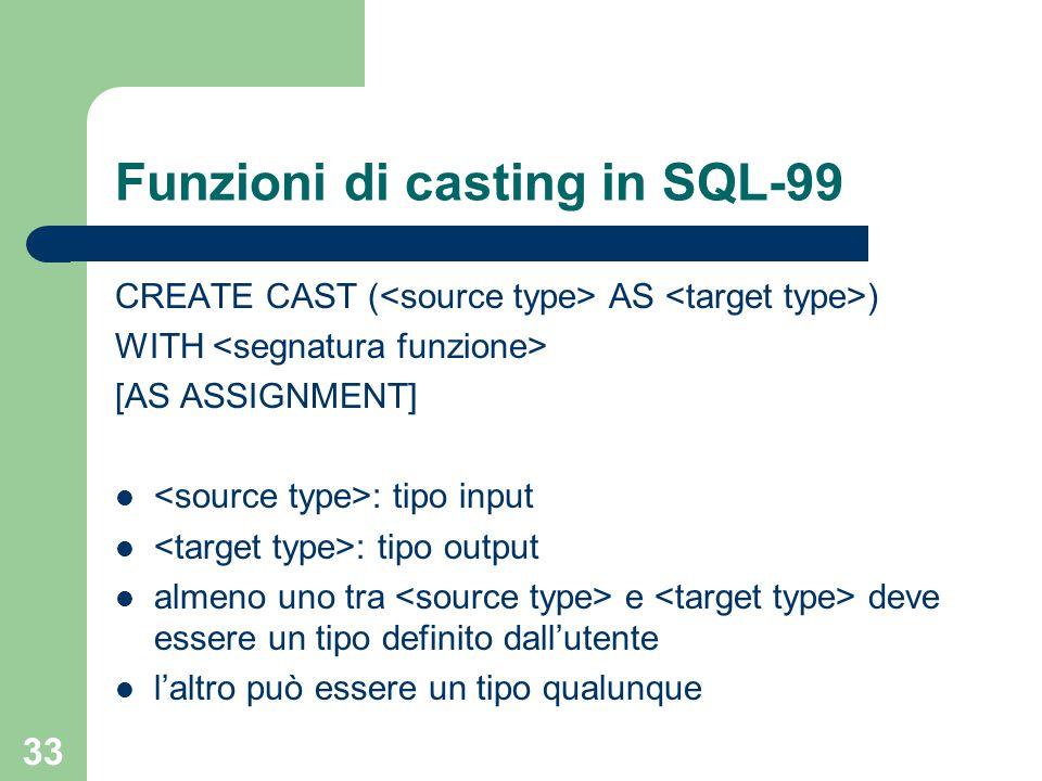 33 Funzioni di casting in SQL-99 CREATE CAST ( AS ) WITH [AS ASSIGNMENT] : tipo input : tipo output almeno uno tra e deve essere un tipo definito dall'utente l'altro può essere un tipo qualunque