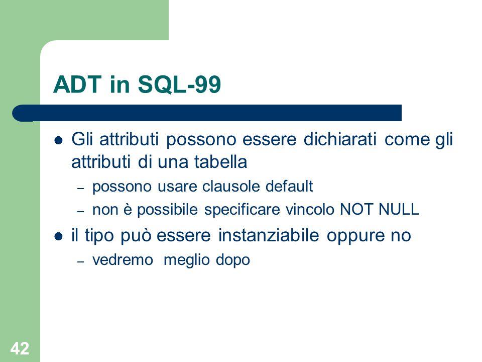 42 ADT in SQL-99 Gli attributi possono essere dichiarati come gli attributi di una tabella – possono usare clausole default – non è possibile specificare vincolo NOT NULL il tipo può essere instanziabile oppure no – vedremo meglio dopo