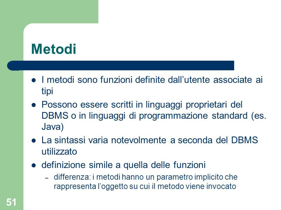 51 Metodi I metodi sono funzioni definite dall'utente associate ai tipi Possono essere scritti in linguaggi proprietari del DBMS o in linguaggi di pro