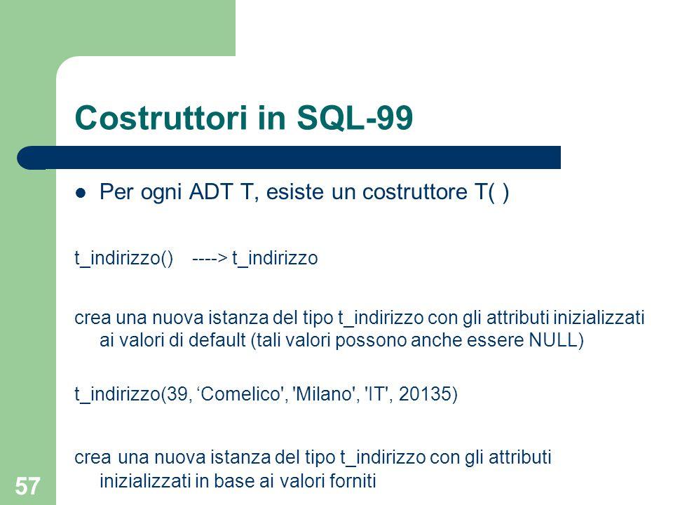 57 Costruttori in SQL-99 Per ogni ADT T, esiste un costruttore T( ) t_indirizzo() ----> t_indirizzo crea una nuova istanza del tipo t_indirizzo con gli attributi inizializzati ai valori di default (tali valori possono anche essere NULL) t_indirizzo(39, 'Comelico , Milano , IT , 20135) crea una nuova istanza del tipo t_indirizzo con gli attributi inizializzati in base ai valori forniti