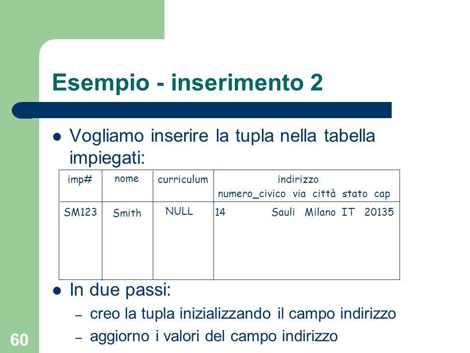 60 Esempio - inserimento 2 Vogliamo inserire la tupla nella tabella impiegati: In due passi: – creo la tupla inizializzando il campo indirizzo – aggio