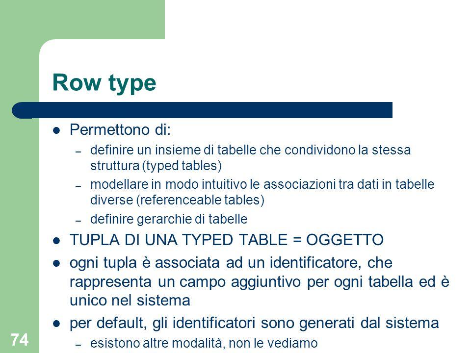 74 Row type Permettono di: – definire un insieme di tabelle che condividono la stessa struttura (typed tables) – modellare in modo intuitivo le associ
