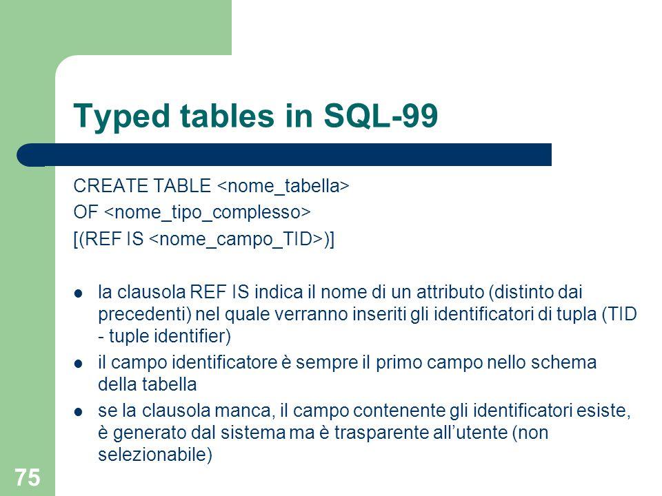 75 Typed tables in SQL-99 CREATE TABLE OF [(REF IS )] la clausola REF IS indica il nome di un attributo (distinto dai precedenti) nel quale verranno inseriti gli identificatori di tupla (TID - tuple identifier) il campo identificatore è sempre il primo campo nello schema della tabella se la clausola manca, il campo contenente gli identificatori esiste, è generato dal sistema ma è trasparente all'utente (non selezionabile)