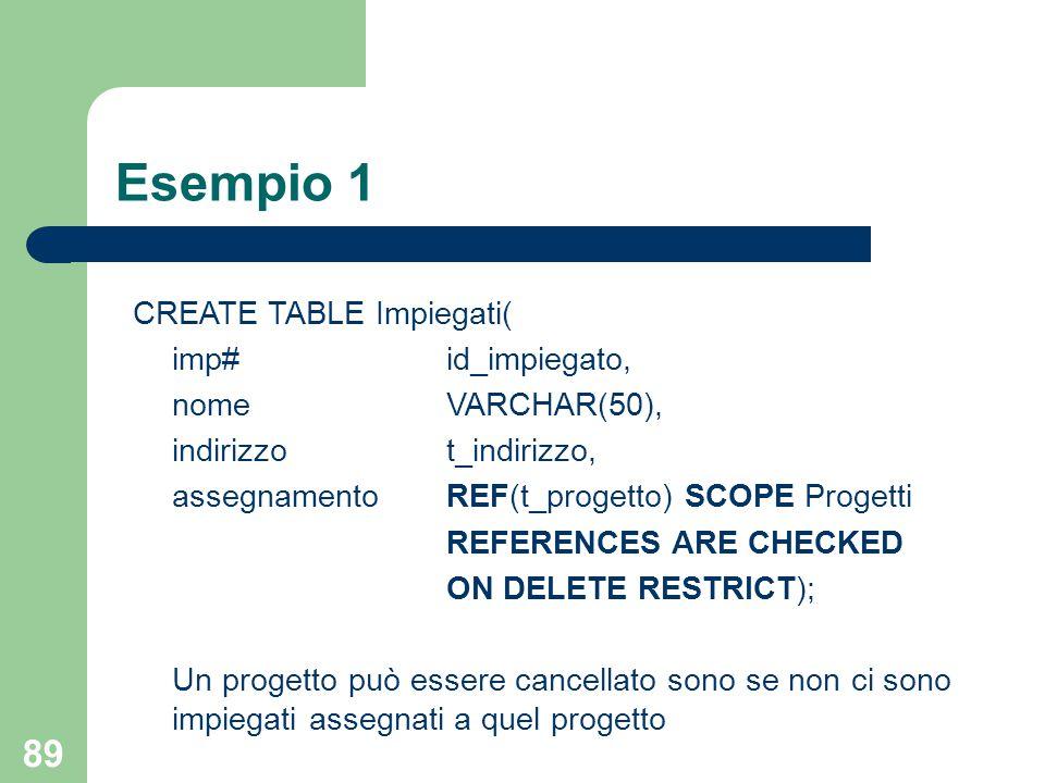 89 Esempio 1 CREATE TABLE Impiegati( imp#id_impiegato, nomeVARCHAR(50), indirizzot_indirizzo, assegnamentoREF(t_progetto) SCOPE Progetti REFERENCES ARE CHECKED ON DELETE RESTRICT); Un progetto può essere cancellato sono se non ci sono impiegati assegnati a quel progetto