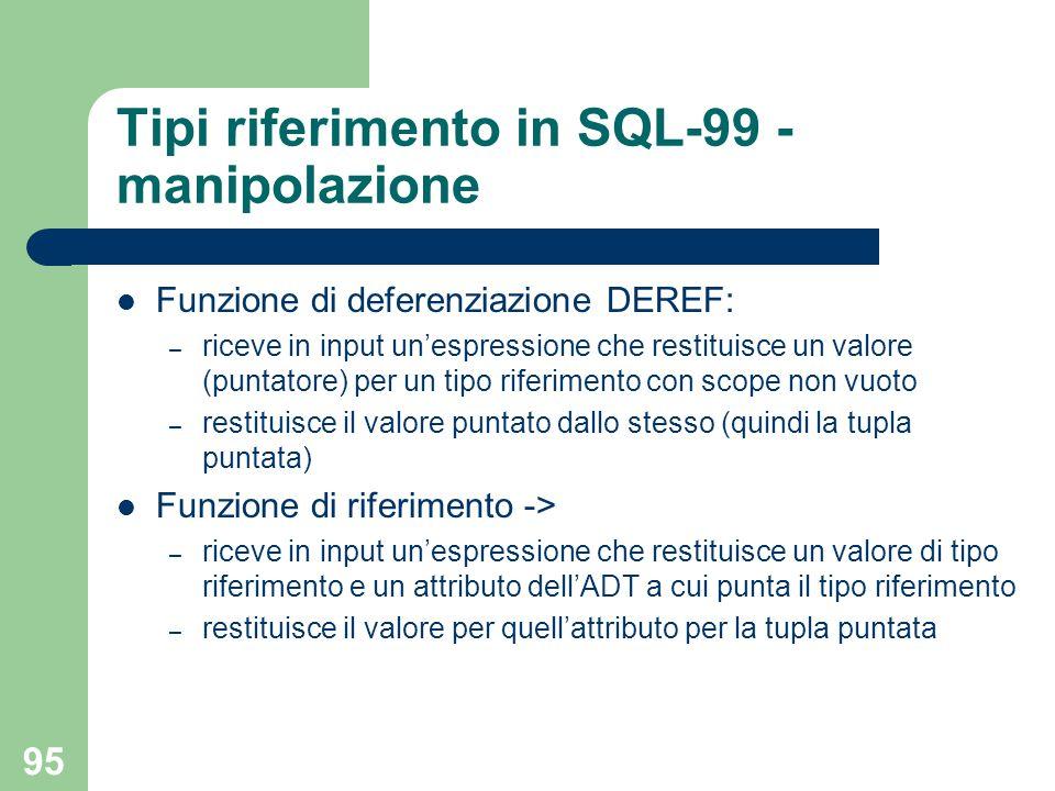 95 Tipi riferimento in SQL-99 - manipolazione Funzione di deferenziazione DEREF: – riceve in input un'espressione che restituisce un valore (puntatore) per un tipo riferimento con scope non vuoto – restituisce il valore puntato dallo stesso (quindi la tupla puntata) Funzione di riferimento -> – riceve in input un'espressione che restituisce un valore di tipo riferimento e un attributo dell'ADT a cui punta il tipo riferimento – restituisce il valore per quell'attributo per la tupla puntata