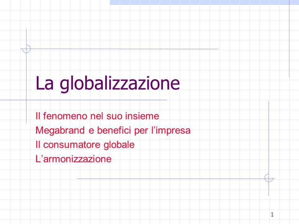 1 La globalizzazione Il fenomeno nel suo insieme Megabrand e benefici per l'impresa Il consumatore globale L'armonizzazione