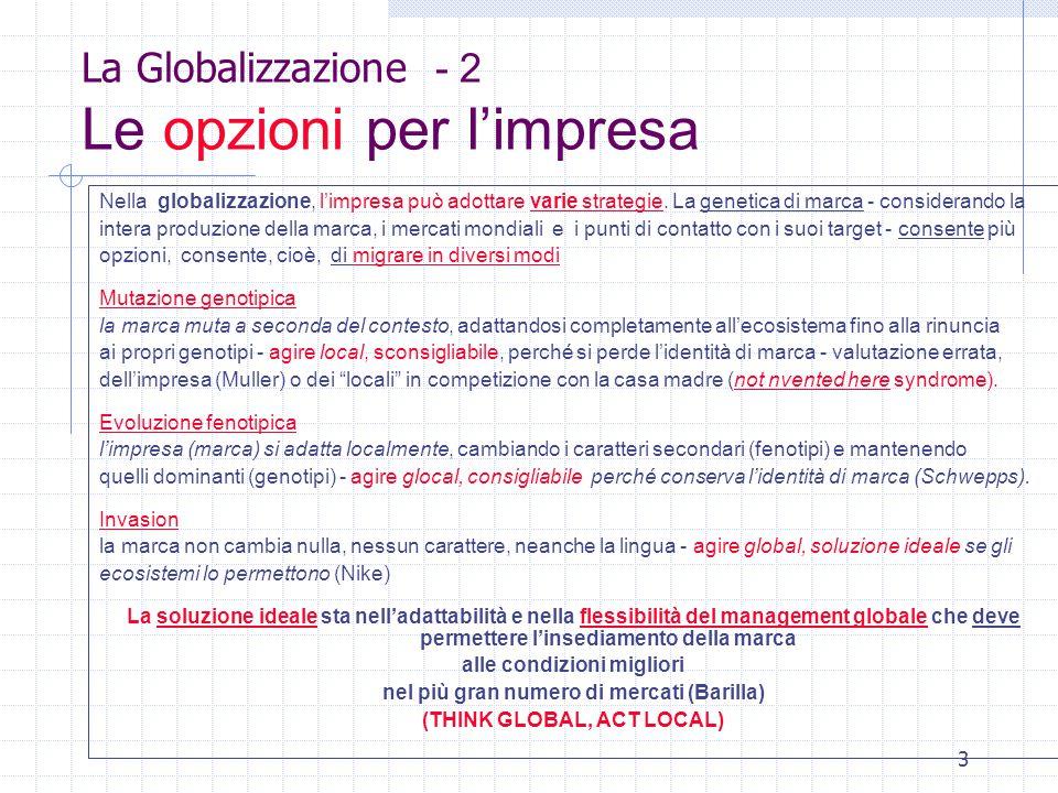 3 La Globalizzazione - 2 Le opzioni per l'impresa Nella globalizzazione, l'impresa può adottare varie strategie.