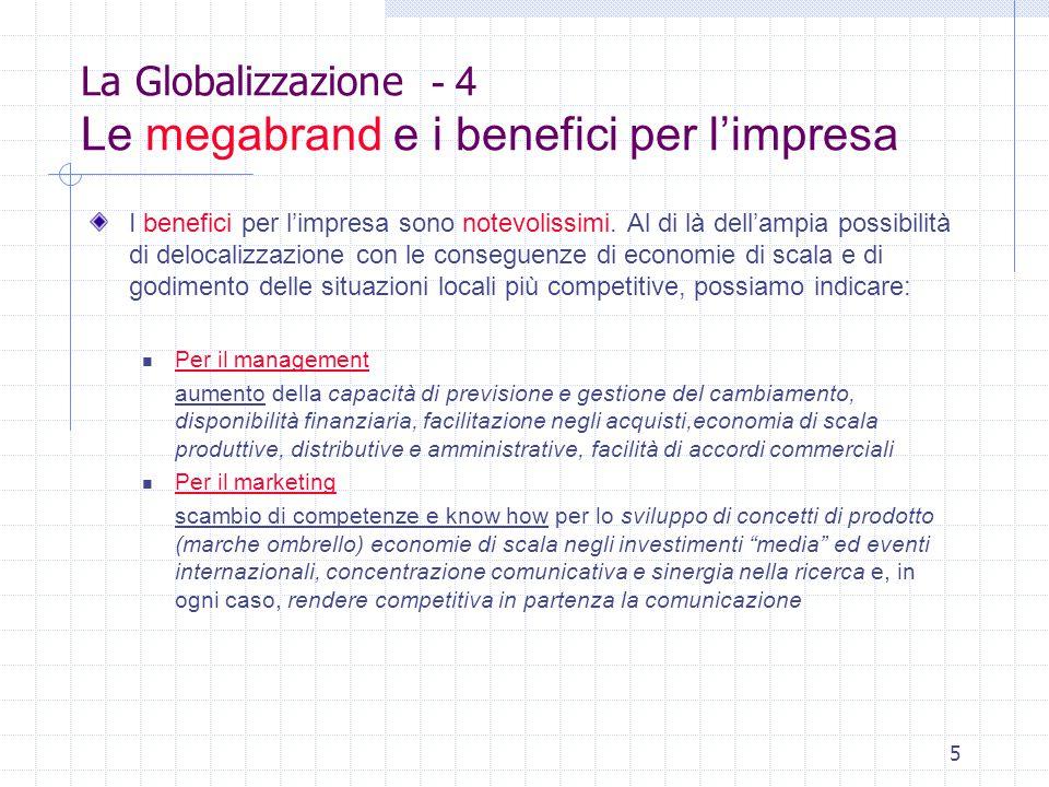 5 La Globalizzazione - 4 Le megabrand e i benefici per l'impresa I benefici per l'impresa sono notevolissimi.