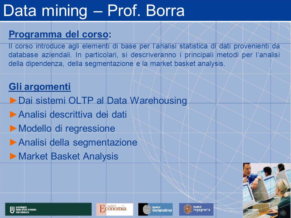 Data mining – Prof.