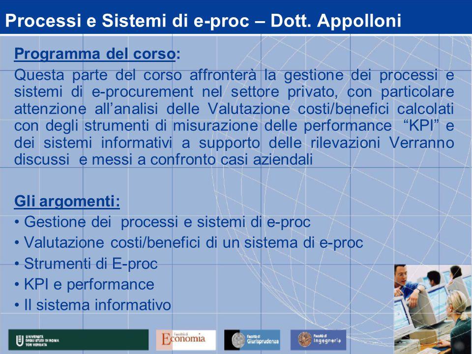 Processi e Sistemi di e-proc – Dott.