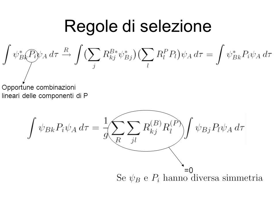 Regole di selezione =0 Opportune combinazioni lineari delle componenti di P