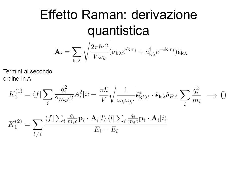 Effetto Raman: derivazione quantistica Termini al secondo ordine in A