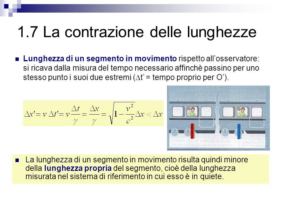 1.7 La contrazione delle lunghezze La lunghezza di un segmento in movimento risulta quindi minore della lunghezza propria del segmento, cioè della lun