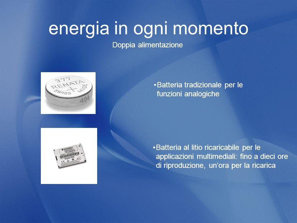 energia in ogni momento Batteria tradizionale per le funzioni analogiche Batteria al litio ricaricabile per le applicazioni multimediali: fino a dieci ore di riproduzione, un'ora per la ricarica Doppia alimentazione