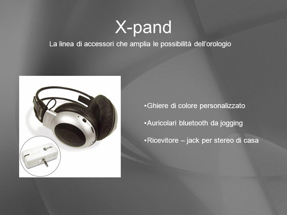 X-pand La linea di accessori che amplia le possibilità dell'orologio Ghiere di colore personalizzato Auricolari bluetooth da jogging Ricevitore – jack per stereo di casa
