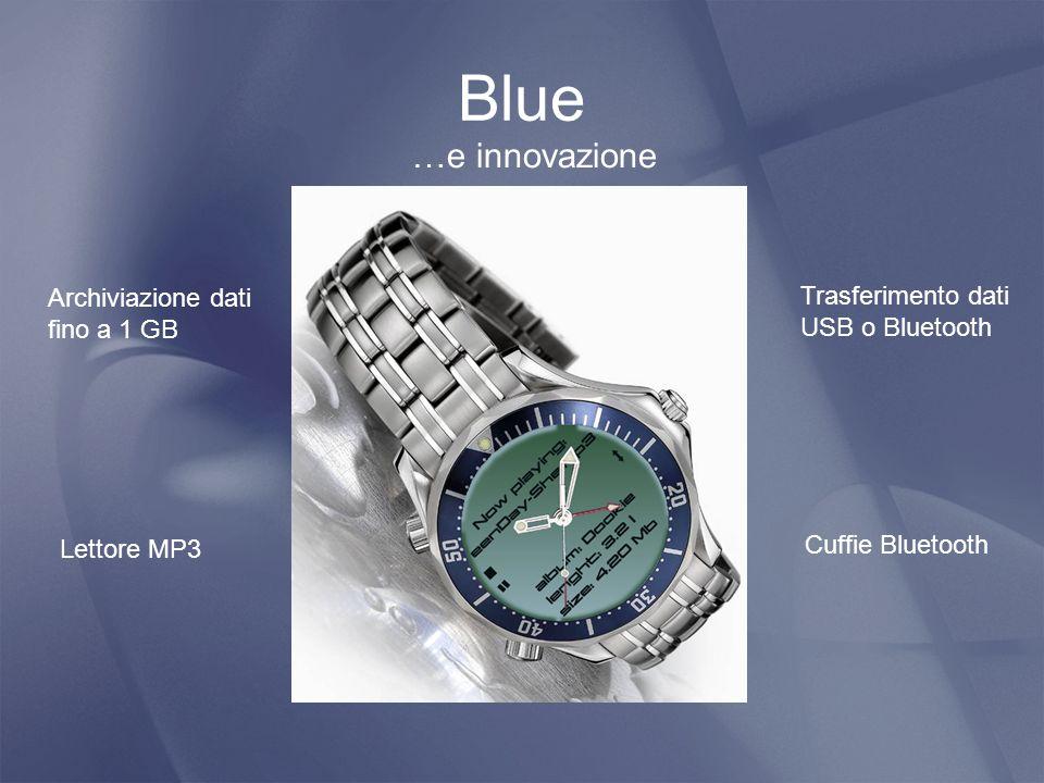 Blue Trasferimento dati USB o Bluetooth Archiviazione dati fino a 1 GB …e innovazione Lettore MP3 Cuffie Bluetooth