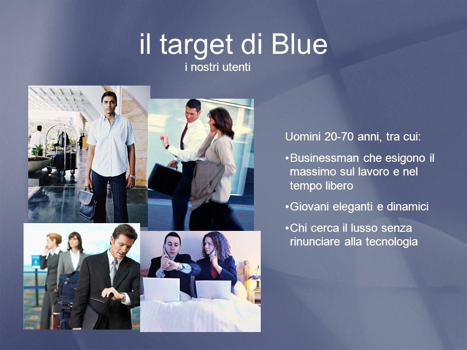 il target di Blue i nostri utenti Uomini 20-70 anni, tra cui: Businessman che esigono il massimo sul lavoro e nel tempo libero Giovani eleganti e dinamici Chi cerca il lusso senza rinunciare alla tecnologia