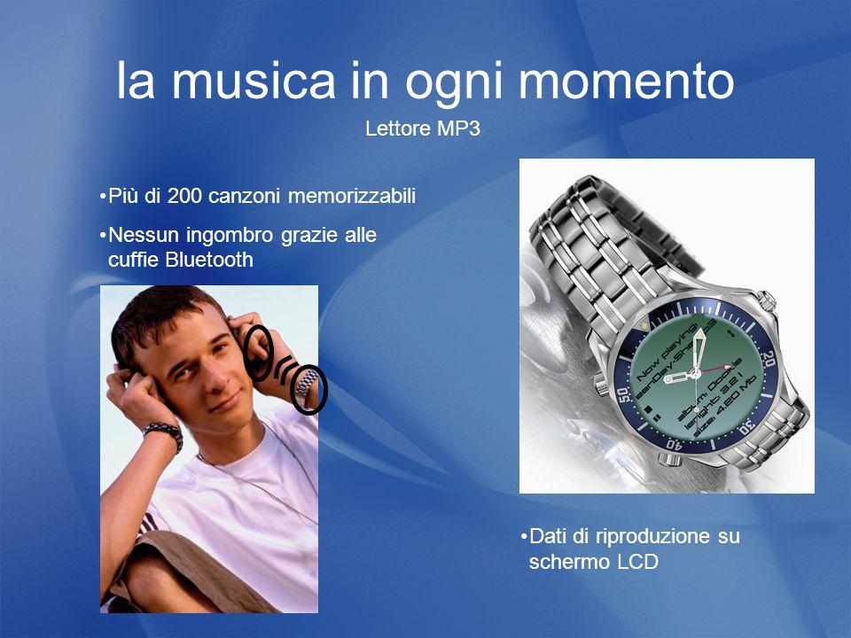 la musica in ogni momento Lettore MP3 Più di 200 canzoni memorizzabili Nessun ingombro grazie alle cuffie Bluetooth Dati di riproduzione su schermo LCD
