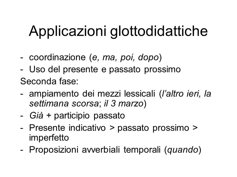 Applicazioni glottodidattiche -coordinazione (e, ma, poi, dopo) -Uso del presente e passato prossimo Seconda fase: -ampiamento dei mezzi lessicali (l'