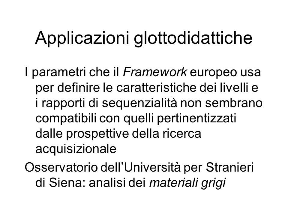 Applicazioni glottodidattiche I parametri che il Framework europeo usa per definire le caratteristiche dei livelli e i rapporti di sequenzialità non sembrano compatibili con quelli pertinentizzati dalle prospettive della ricerca acquisizionale Osservatorio dell'Università per Stranieri di Siena: analisi dei materiali grigi