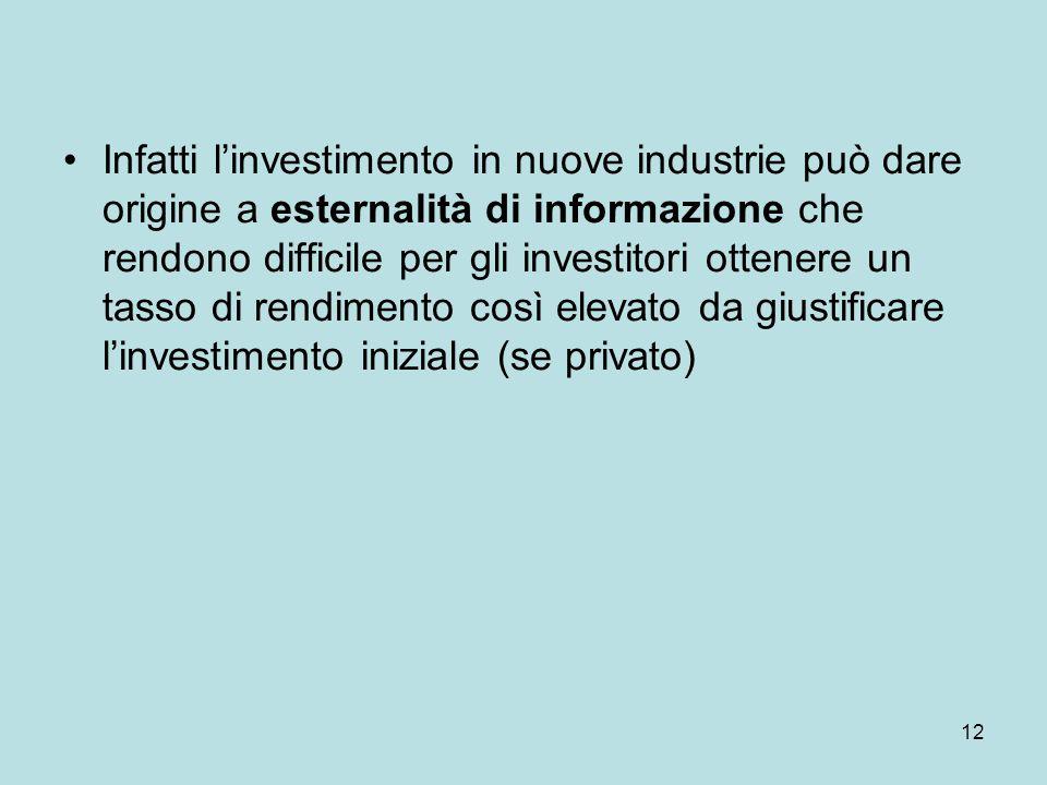 12 Infatti l'investimento in nuove industrie può dare origine a esternalità di informazione che rendono difficile per gli investitori ottenere un tass