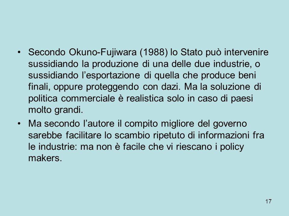 17 Secondo Okuno-Fujiwara (1988) lo Stato può intervenire sussidiando la produzione di una delle due industrie, o sussidiando l'esportazione di quella