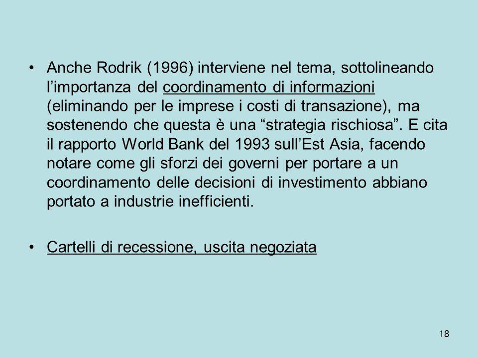 18 Anche Rodrik (1996) interviene nel tema, sottolineando l'importanza del coordinamento di informazioni (eliminando per le imprese i costi di transaz