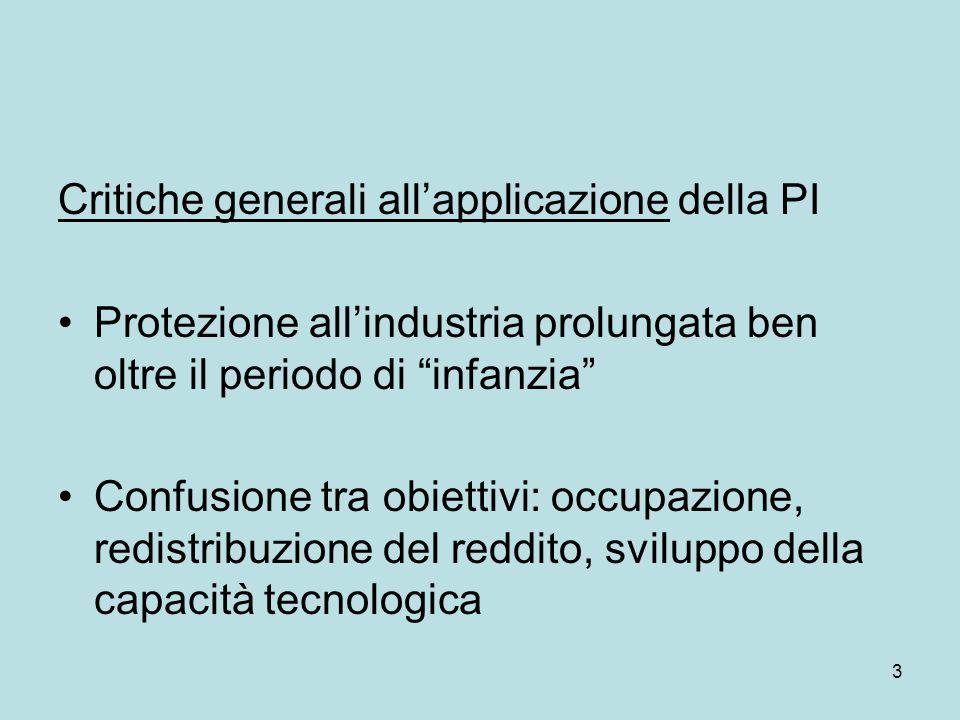 """3 Critiche generali all'applicazione della PI Protezione all'industria prolungata ben oltre il periodo di """"infanzia"""" Confusione tra obiettivi: occupaz"""