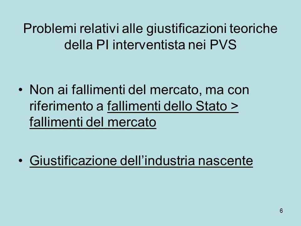 6 Problemi relativi alle giustificazioni teoriche della PI interventista nei PVS Non ai fallimenti del mercato, ma con riferimento a fallimenti dello