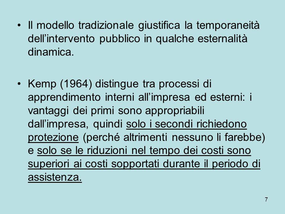 7 Il modello tradizionale giustifica la temporaneità dell'intervento pubblico in qualche esternalità dinamica. Kemp (1964) distingue tra processi di a