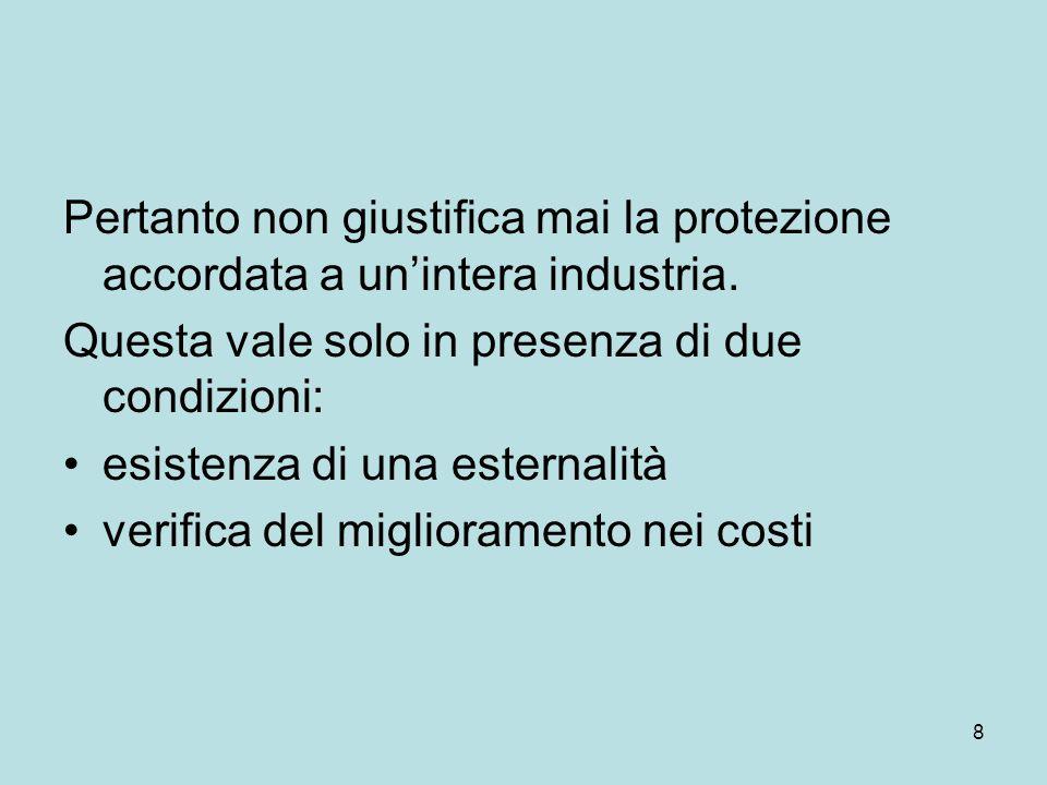 8 Pertanto non giustifica mai la protezione accordata a un'intera industria. Questa vale solo in presenza di due condizioni: esistenza di una esternal