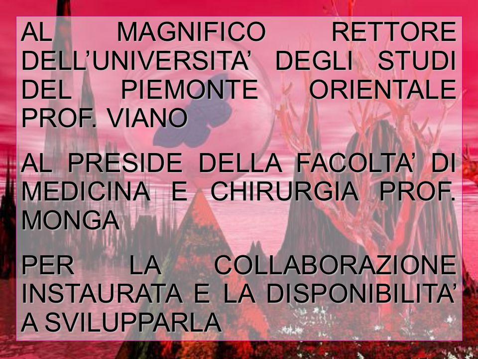 AL MAGNIFICO RETTORE DELL'UNIVERSITA' DEGLI STUDI DEL PIEMONTE ORIENTALE PROF.